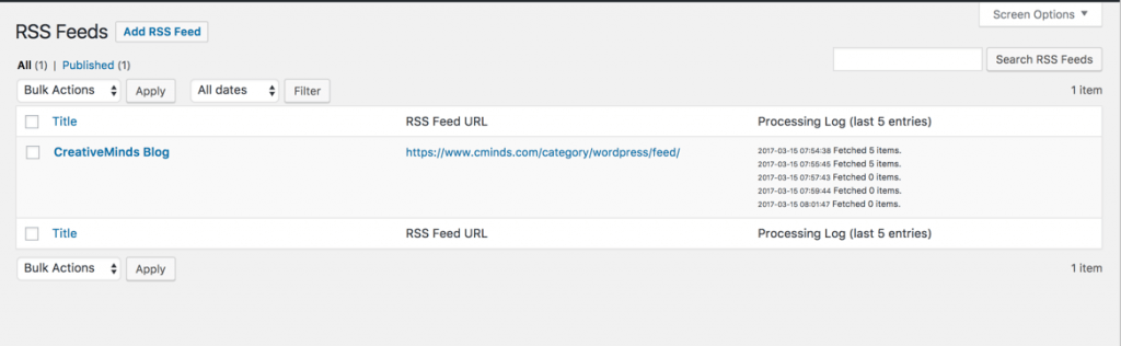 RSS Feeds Import Dashboard