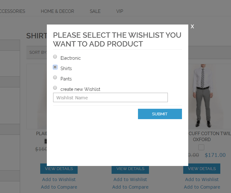 Popup shown to the customer in which they can choose which Wishlist to use or if to create a new one