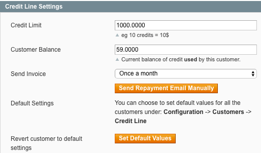 Admin setting screen for setting store credit for specific customer