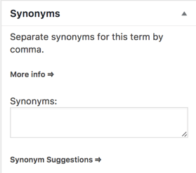 Synonyms Input Area in each term Page