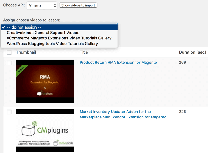 Import Dashboard Showing Videos as Accessed from a Vimeo Account