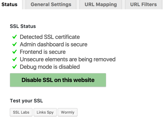 HTTPS SSL Plugin Dashboard Screen