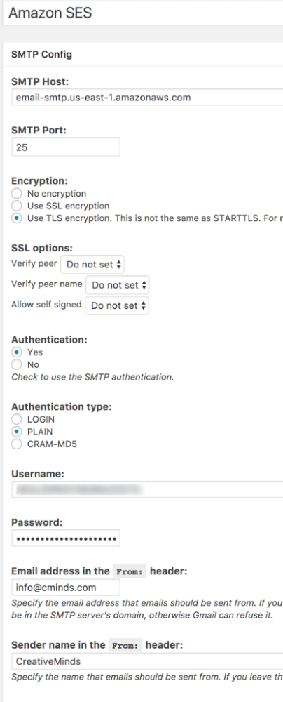 Setting Screen for an SMTP service Gateway