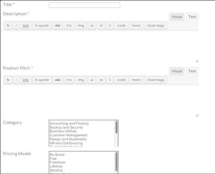 A Form Allowing Users to Post New Product Suggestions