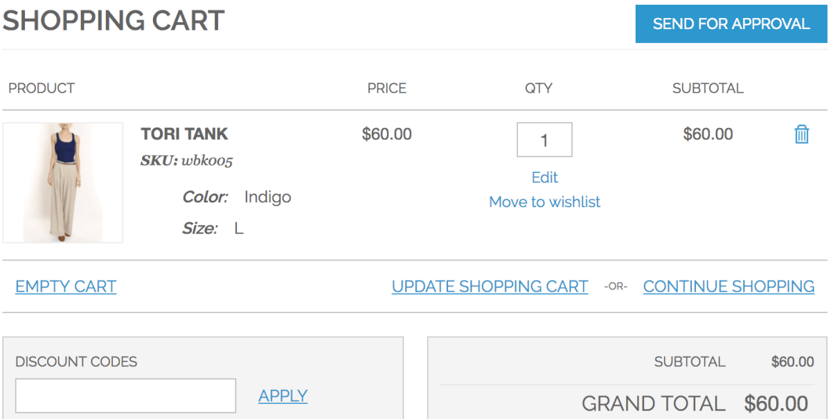 Subaccount user with items added to cart but who must send cart for approval as they don't have the required permission to complete the purchase