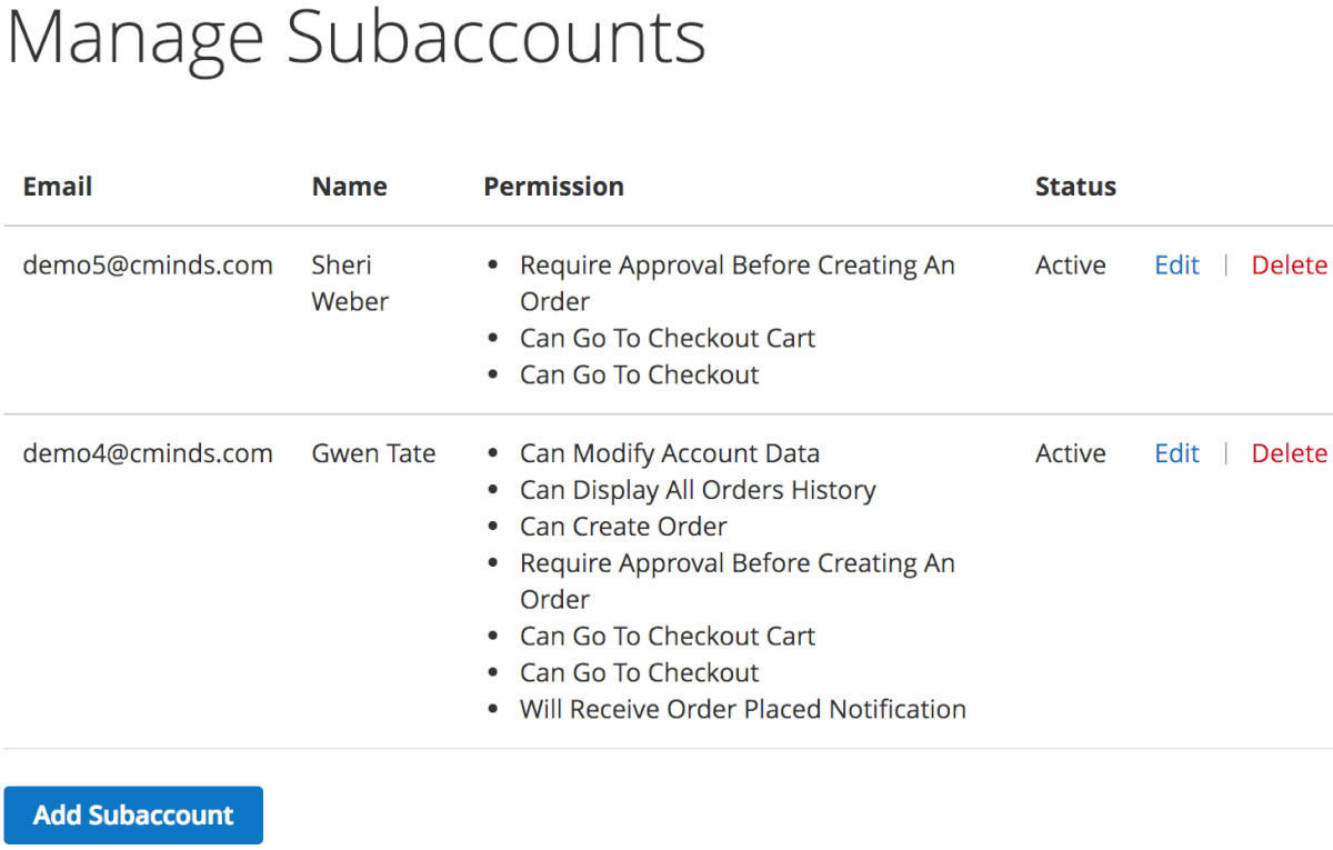 Master account can add, delete or edit subaccount permissions from their master account dashboard