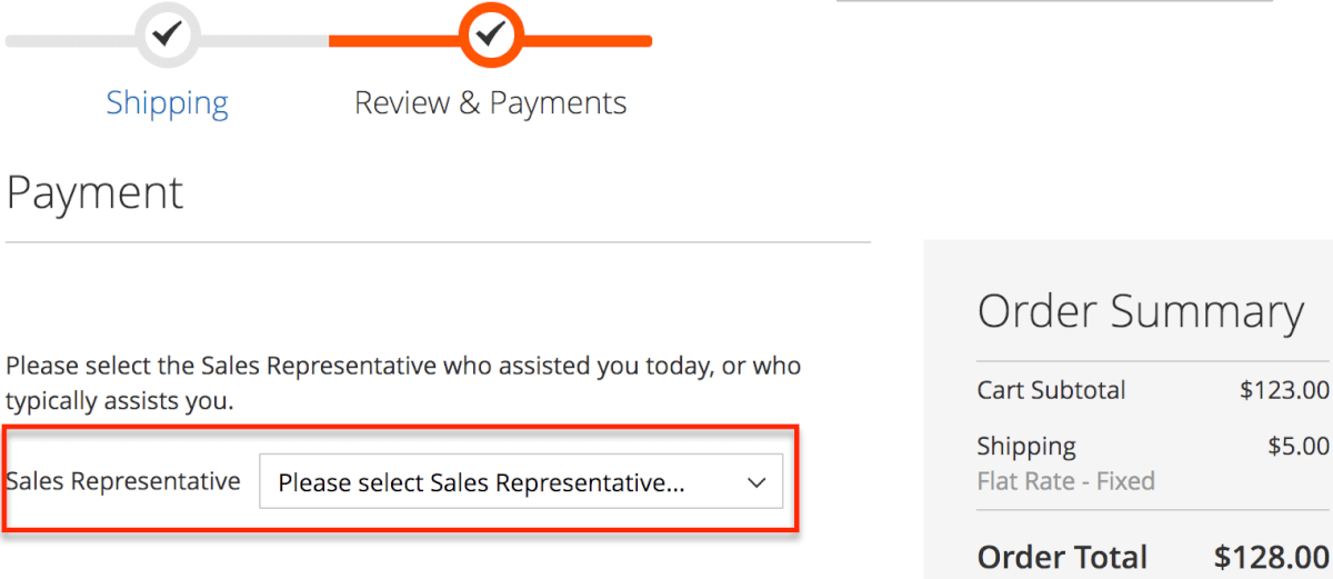 Checkout screen showing ability to select salesrep