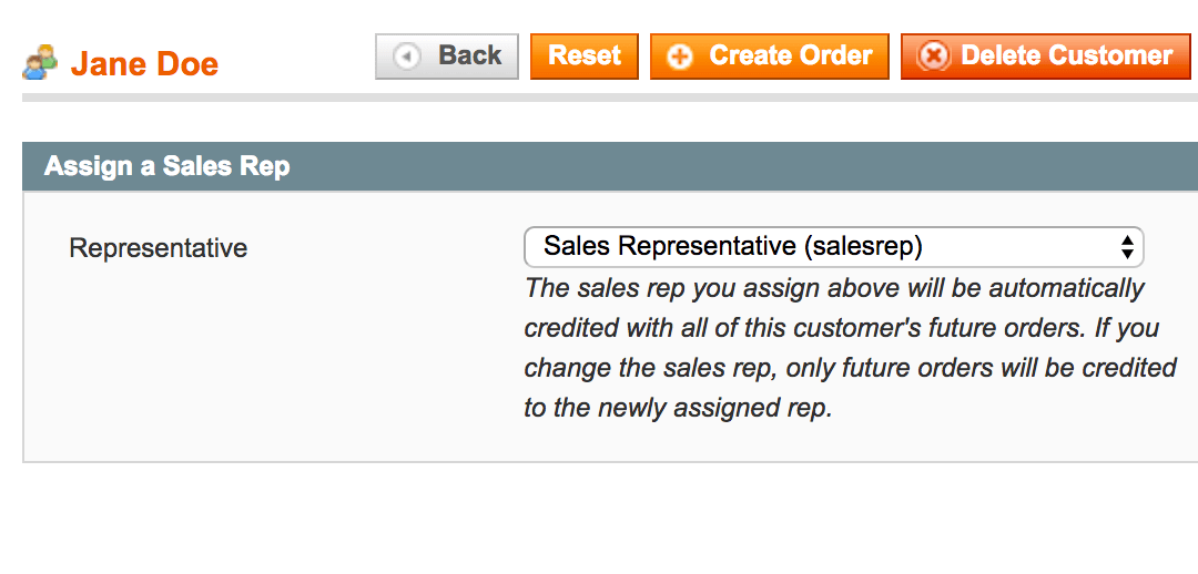Checkout screen for a customer to select a sales rep