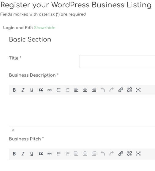 Showing part of the new business submission form