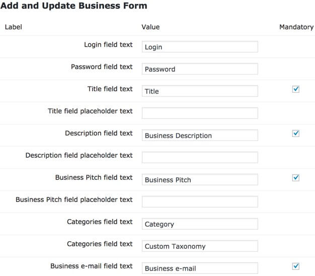 Setting screen showing part of the business form settings