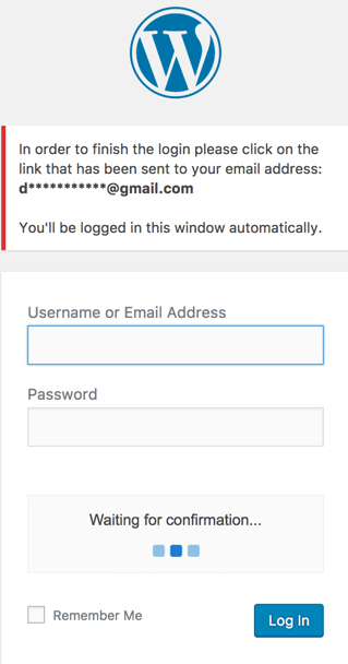 The WordPress login screen which includes an additional step for email verification