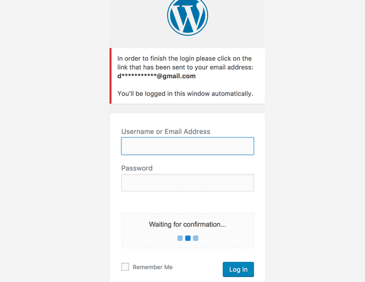 Secure Login – example when using email link