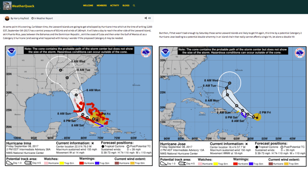 Member posts analysis about Hurricane Irma on 9/5 (note: layout was reformatted) - Weather Forecast: Cool WordPress Managing With no Chance of Spam