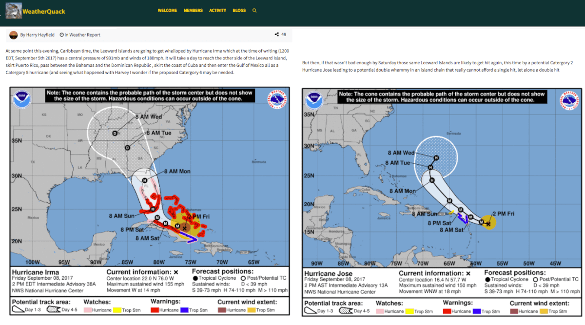 Member posts analysis about Hurricane Irma on 9/5 (note: layout was reformatted)