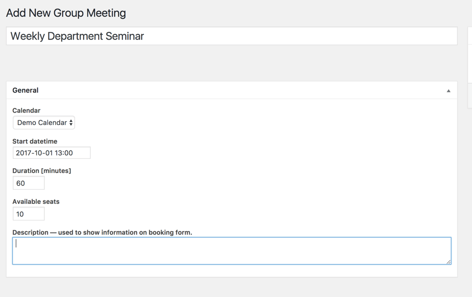 Setting screen showing group meeting settings