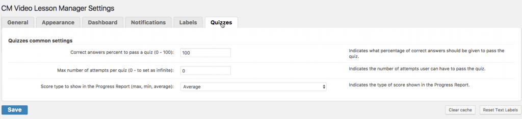 Video Lessons Quiz Add-on: General Settings - Test Student's Skills With The WordPress Video Lessons Quiz Add-on