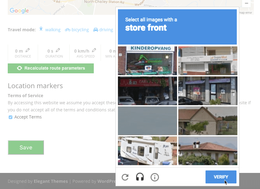 Both Maps Anonymous Posting Add-ons have ReCaptcha support - NEW: Let Guests Post Anonymous Routes and Locations To WordPress