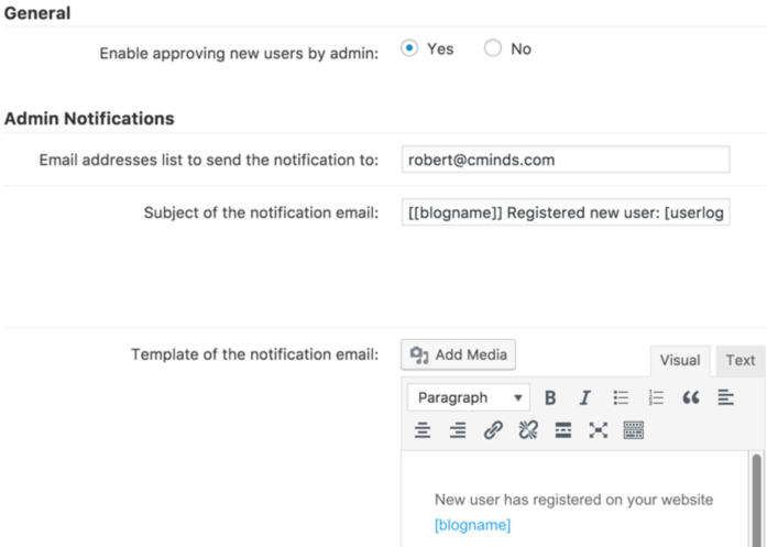 Setting screen showing notification setting