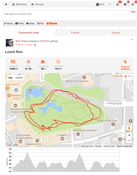 Strava Route Integrated in User Stream