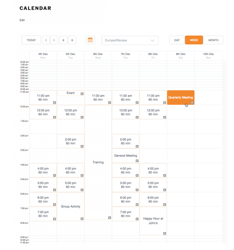Front-End view of the Calendar with group meetings. Hovering the mouse over an event highlights it