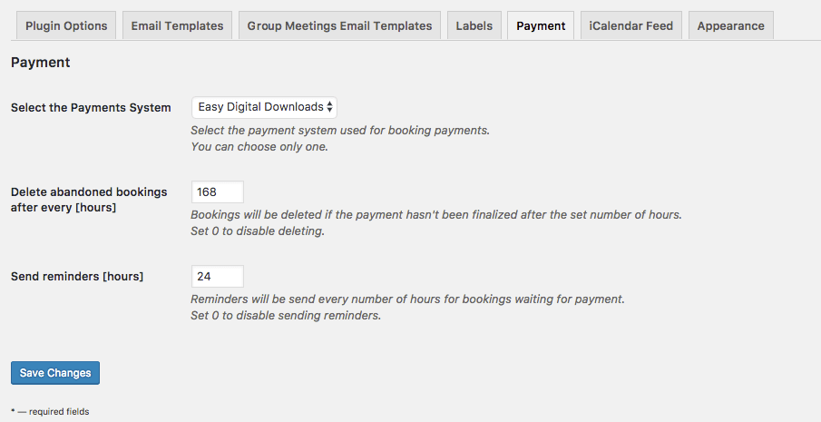 Back-End: Payments Settings