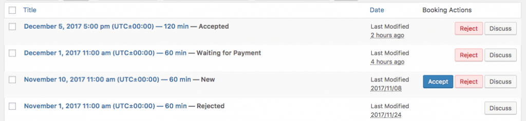 "Back-End: Bookings can be ""New"", ""Awaiting Payment"", ""Accepted"" or ""Rejected"""