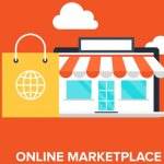 "Image depicting a store front with the caption ""online marketplace"" to represent how to build an online marketplace"