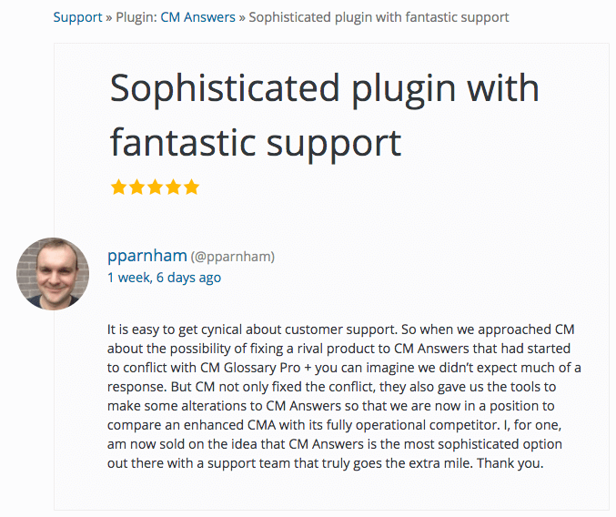 User reviews CM Answers on wordpress.org