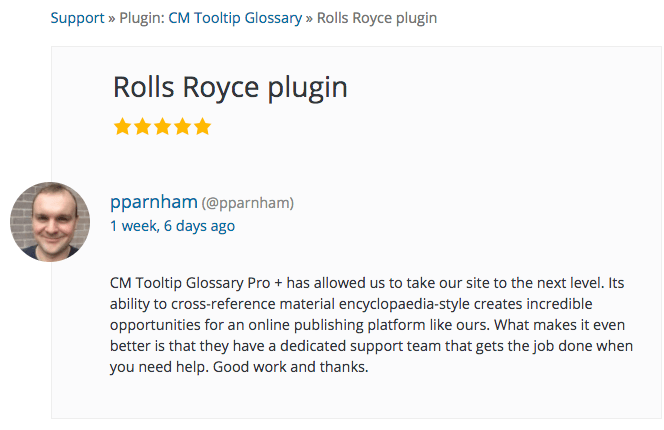 User reviews Tooltip Glossary on wordpress.org