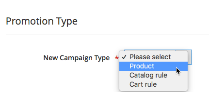 The admin can select type when creating a campaign