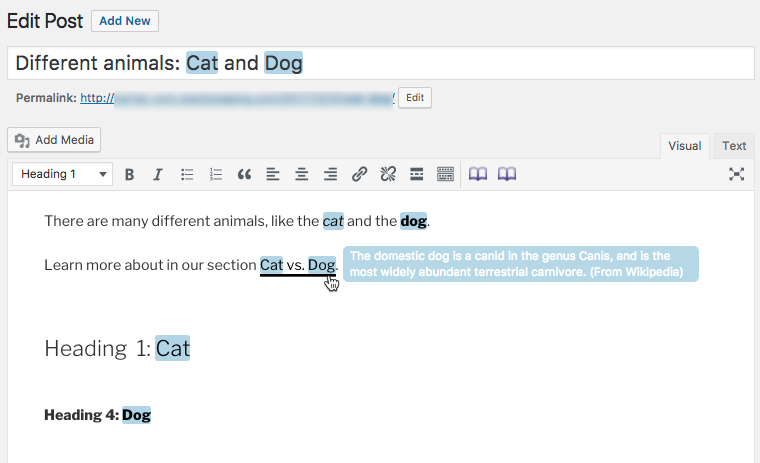 Example of tooltips in the Back-End