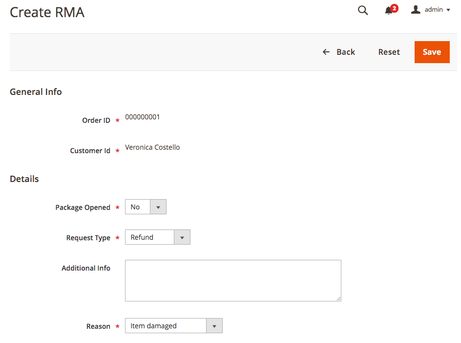 A RMA request editing screen from the admin dashboard