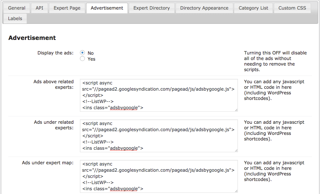 embedding ad campaigns from external ad services like Google adsense