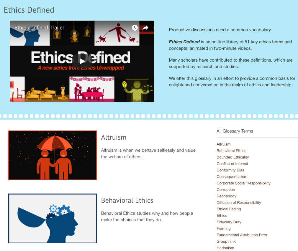 The Ethics Unwrapped's Glossary, powered by Tooltip Glossary