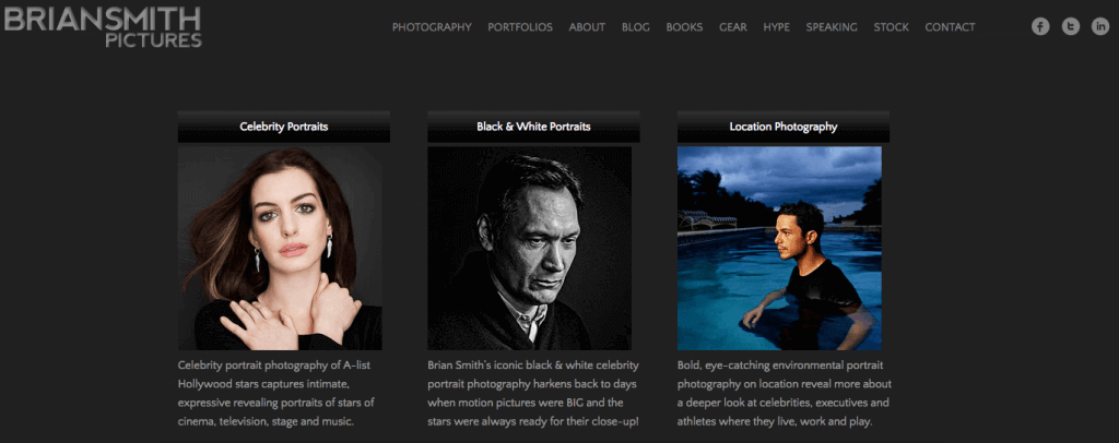 Sample of a professional portfolio created with WordPress. Created by Brian Smith