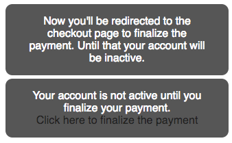 Accounts will only be active after payment
