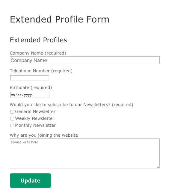 Front-End view of the Profile Form