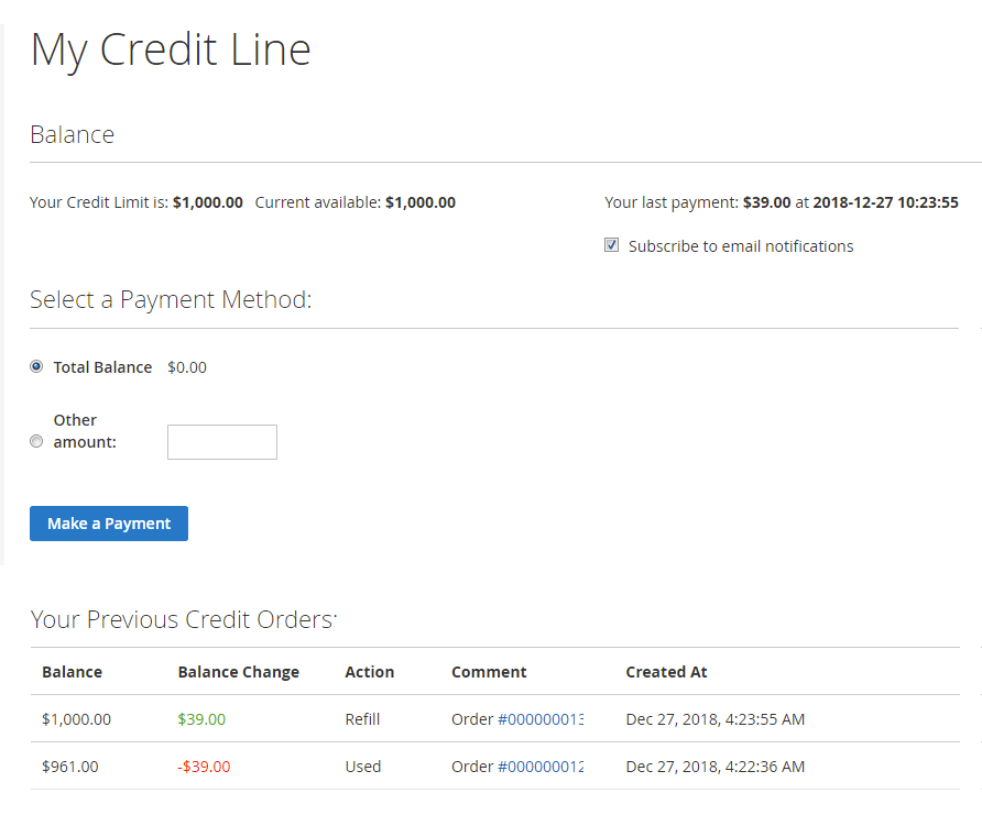Customer dashboard showing all used store credit and ability to pay for it