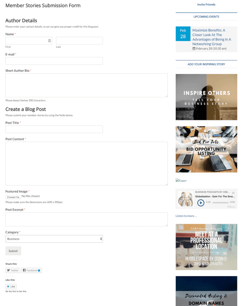 OSBN Blog User Submitted Posts - Form plugin to collect success stories