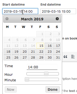 Booking events - Event date editor