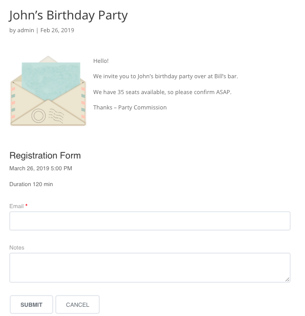 Sample event page for a birthday party