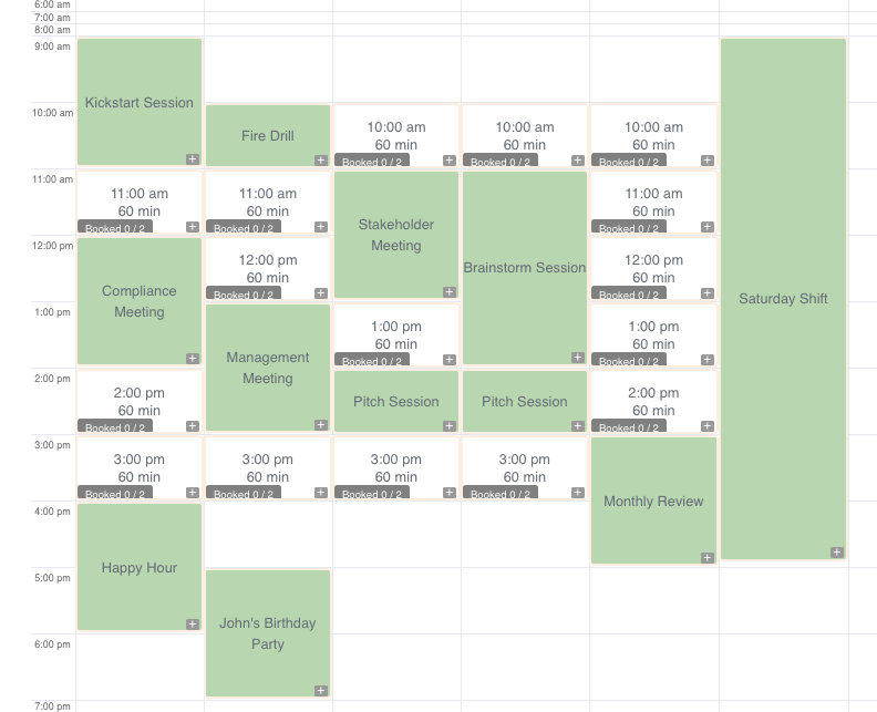 Calendar sample with bookings and events