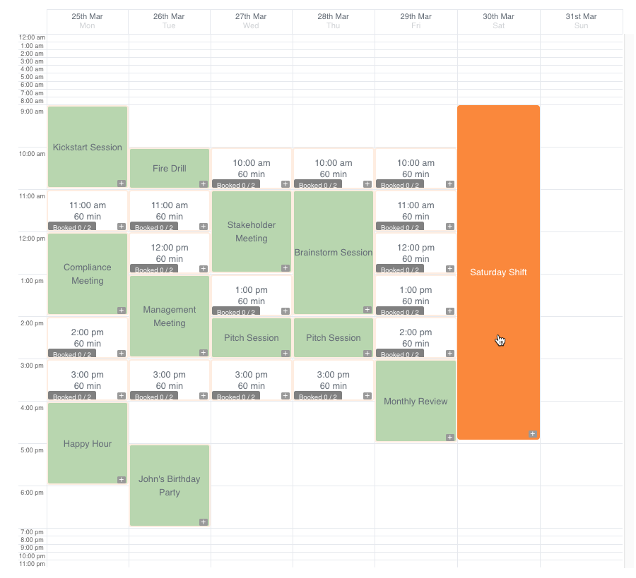 Booking events - Calendar view with highlighted event