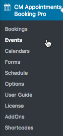 Booking events - Options view