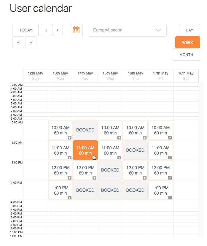 User Calendar