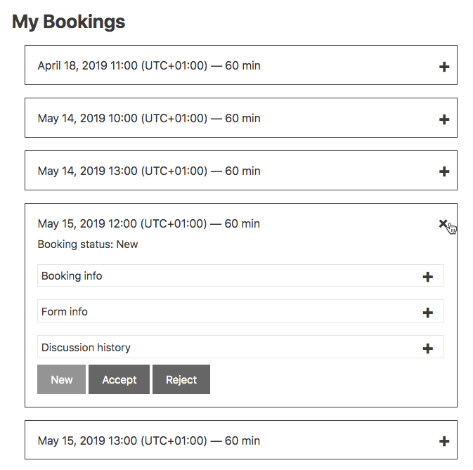 User Calendar Add-on - Managing my bookings