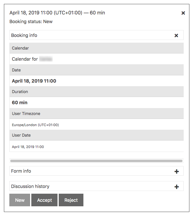 User Calendar Add-on - Booking Information - Form panel