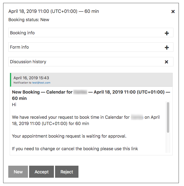 User Calendar Add-on - Booking Information - Discussion Panel