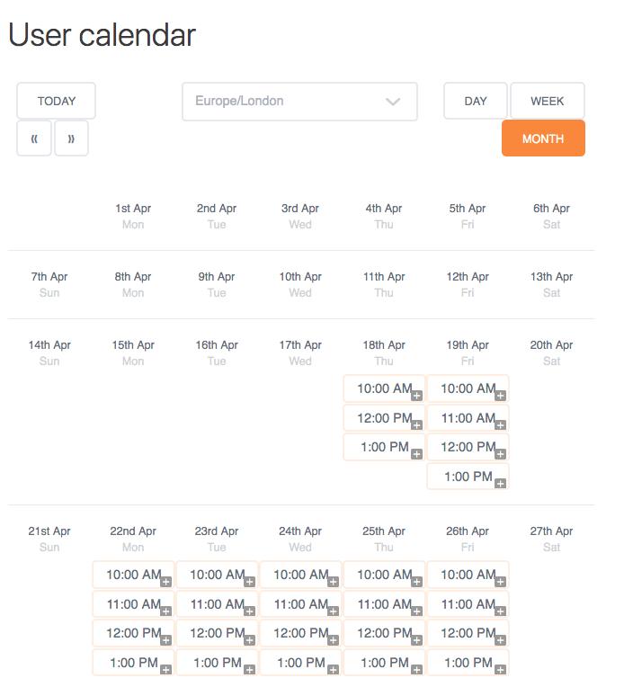 User Calendar Add-on - Calendar Month View