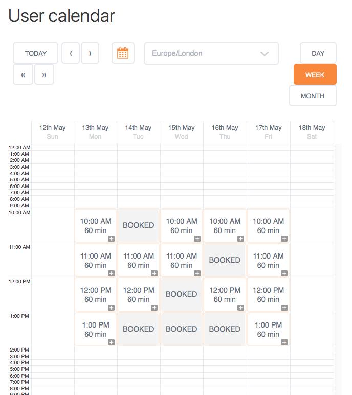 User Calendar Add-on - Calendar Week View